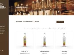 Webseite Webdesign Tiroler Edelbrennerei